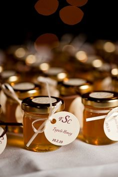 A romantic garden wedding at the Biltmore Estate in Asheville with beautiful flowers and rich autumn jewel tones captured by Two Ring Studios. Indian Wedding Favors, Wedding Favor Labels, Unique Wedding Favors, Wedding Party Favors, Fall Wedding Groomsmen, Invitation Fete, Honey Favors, Fall Wedding Centerpieces, Wedding Save The Dates
