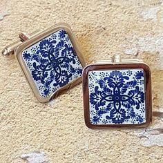 Blue tile cufflinks Vintage Cufflinks, Blue Tiles, Little Gifts, Cobalt Blue, Precious Metals, Coin Purse, Chrome, Fashion Accessories, Mens Fashion