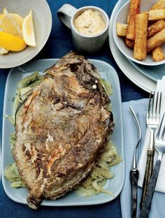Whole roasted John Dory with braised fennel, chips and béarnaise sauce recipe from Kitchin Suppers by Tom Kitchin Dory Fish Recipe, Sauce Recipes, Fish Recipes, John Dory Fish, Tom Kitchin, Leafy Salad, Bearnaise Sauce, Sunday Roast, Suppers