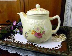 Large Antique Crooksville Teapot Tea by TheVintageTeacup on Etsy Vintage China, Vintage Tea, Tea Cup Saucer, Tea Cups, Pottery Marks, Linen Store, My Cup Of Tea, Chocolate Pots, Teapots