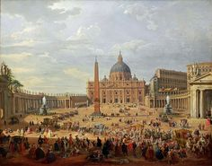 Giovanni Paolo Panini (1692-1765) Departure of the Duc de Choiseul from the Piazza di San Pietro,1754, oil on canvas,152х195 cm. Gemäldegalerie,Berlin