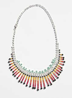 "DIY ""Tom Binns"" style hand-painted rhinestone jewelry. Take any plain rhinestone necklace and paint the stones with nail lacquer or sharpie markers."