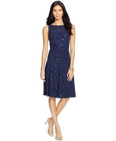 "Lauren Ralph Lauren Sleeveless Lace Dress - Lauren Dresses - Women - Macy's, 22.5"" $174"