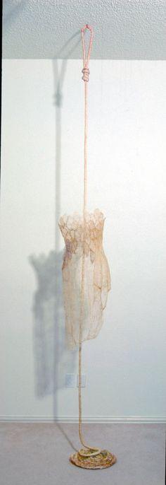 """Leisa Rich ~ Ethereal Messenger (2003) 116"""" X 12"""" X 9""""   Materials: Thread, coffee   Techniques: Free Motion stitching, coffee dyed ©   monaleisa.com"""