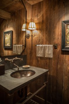 Wood River Valley Chalet - rustic - Bathroom - Other Metro - MILLER ARCHITECTS PC