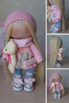 Tilda doll Handmade doll Fabric doll blonde violet color Soft doll Cloth doll…