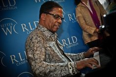 UNESCO Goodwill Ambassador Herbie Hancock performing at the Rayburn House office building. Photograph by Daniel Cima.