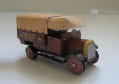 Tatra TL 2 Valnik - Old Czech Truck Paper Model - by Minimodel.Cz -- This is the Tatra TL-2, an old Czech truck, that was produced between years 1915 1924. It was a 4x2 traction, 2-ton truck, with 4 cylinders. This paper model is in 1/100 scale (slightly smaller than a Hot Wheels), and was created by Minimodel.Cz website.