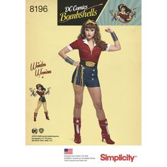 D.C. Comics Bombshells brings you this pinup twist on Wonder Woman in Misses sizes 6 to 22—a must-have costume for cosplay events. This D.C. Bombshell pattern includes zip front top, shorts, belt, wrist cuffs, boot covers, and headband. Simplicity sewing pattern.