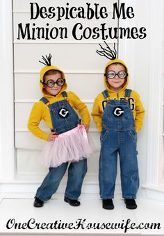 And for Halloween in South Dakota - Find a yellow stocking hat/ski mask (without the pom on top) - then use the goggles! The kids will be super warm! Lol    Despicable Me Minion Costumes {Tutorial} I am making all these kids be minion s for Halloween!!