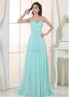 Gorgeous Chiffon Sweetheart Neckline A-line Evening Dress with Beadings & Rhinestones