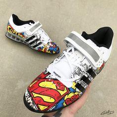 aea4cd662ff8 Superman Custom Hand Painted Adidas Adipowers - Olympic Weightlifting  Crossfit shoes