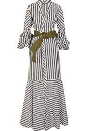 Gray-green and white cotton-blend poplin Slips on cotton, elastane Dry clean Designer color: Off-White/ Military Green Modest Fashion, Hijab Fashion, Fashion Outfits, Womens Fashion, Elegant Dresses, Beautiful Dresses, Casual Dresses, African Fashion Dresses, Little Girl Dresses