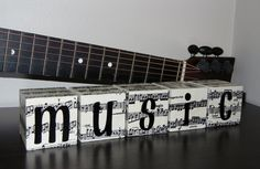 Decorative Black And White Wooden Music Note Blocks. Great Christmas Gift For A…
