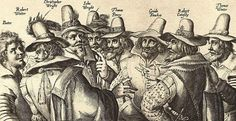 Jacobean engraving of the people involved in the Gunpowder Plot of 1605.