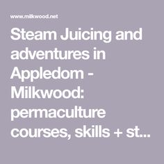 Steam Juicing and adventures in Appledom - Milkwood: permaculture courses, skills + stories Steam Juicer, Permaculture Courses, Juicing, Adventure, Desserts, Tailgate Desserts, Juice, Deserts, Postres