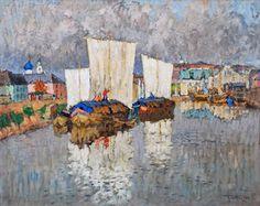Boats by the River Bank - Konstantin Gorbatov