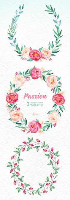 Passion 3 Watercolor Wreaths hand painted clipart от OctopusArtis
