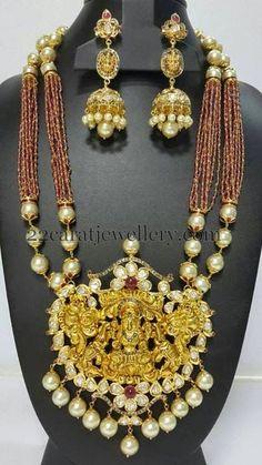 Jewellery Designs: Lakshmi Haram with Jhumkas