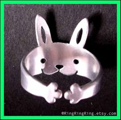 Bunny Rabbit Ring, Adjustable Sterling Silver jewelry, legs wraps around your finger (Matte or Shine)