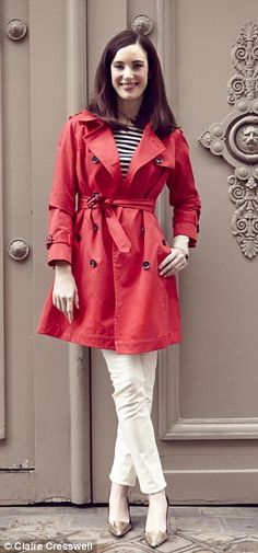 Love the combination! Red trench, blue and White stripes, White jeans.