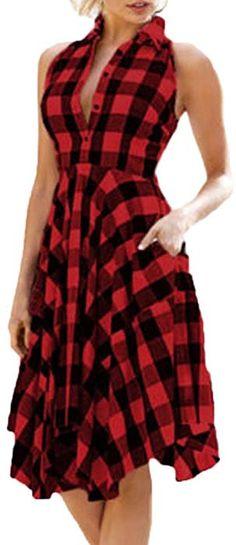 f6974c3671 Amazon.com  AmyDong Hot Sale! Ladies Dress Women Vintage Plaid Sleeveless  Zipper Irregular