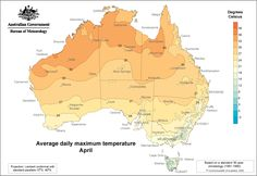 Average daily maximum temperature - April
