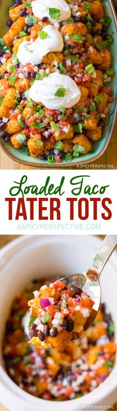 The Best Slow Cooker Taco Tater Tots (Two Ways!) An easy party recipe you can lighten-up! via /spicyperspectiv/ Slow Cooker Tacos, Best Slow Cooker, Slow Cooker Recipes, Crockpot Recipes, Cooking Recipes, Chicken Recipes, Healthy Recipes, Tater Tots, Easy Party Food