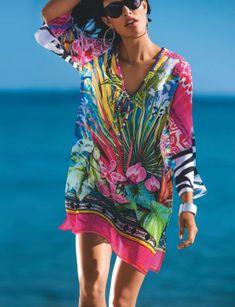 MADELEINE l Strandschönheiten l Fürstenberg Tunika mit 3 4-Arm und  Tropenprint l Fuchsia Multicolor l. Marie Evans 89f7e2b867