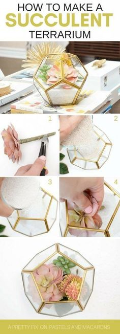 Faux Five Minute Craft For Your Home Make a DIY mini geometric faux succulent terrarium by layering sand and using assorted succulent plants. Learn how to make this fabulous gold and glass terrarium in five minutes!Make a DIY mini geometric faux succulent Colorful Succulents, Hanging Succulents, Faux Succulents, Succulents Garden, Succulent Plants, Succulent Terrarium Diy, Succulent Care, Succulent Ideas, Succulent Arrangements
