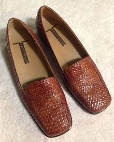 Trotters Brown Woven Leather Loafers Moccasins Womens Size 8M | eBay
