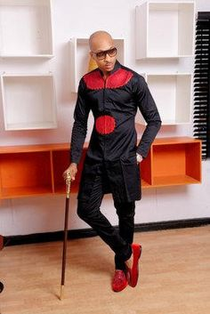 African men's wear, African fashion, African clothing, Men long sleeve native wear, men embroidery d African Fashion Designers, African Men Fashion, Africa Fashion, Mens Fashion, African Dresses Men, African Wear, African Attire, African Outfits, African Clothes