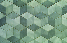 Raw edges for Mutina, Italy Handmade tiles can be colour coordinated and customized re. shape, texture, pattern, etc. by ceramic design studios