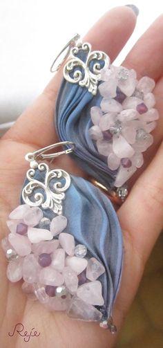 shibori silk earrings- rose quartz, swarovski beads, crystals of Bohemia https://www.facebook.com/rejegioielliinsoutache