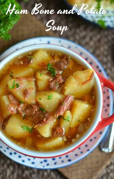 This homemade soup is easy and delicious! It's a great way to use leftovers from Thanksgiving, Christmas or Easter and it will warm you up on a cold fall or winter day! Ham Bone and Potato Soup Recipe from Hot Eats and Cool Reads Ham Bone Potato Soup, Ham Soup, Crock Pot Soup, Best Ham Bone Soup, Ham Bone Recipes, Crockpot Recipes, Soup Recipes, Cooking Recipes, Potato Recipes