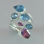 Lilly Barrack Rhodolite Garnet and London Blue Topaz Ring set in sterling silver.