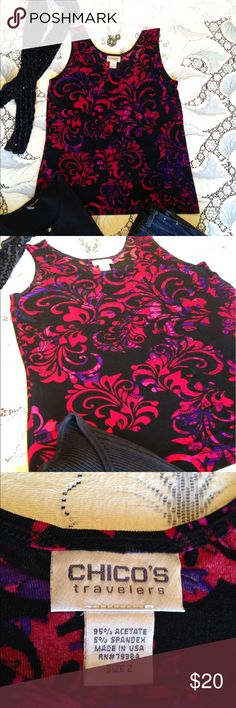"Chico's Tank Top This is the fabric and quality you expect from Chico's. The pattern colors are vibrant red and purple on this stretchy tank. Underarm to underarm measures 18"" and length 24 3/4"". Pre-owners in excellent condition. Thank you for looking and sharing. Chico's Tops Tank Tops"