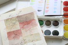 watercolors on ledger paper