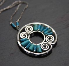 THIS IS A CUSTOM LISTING FOR TRACIE ONLY PLEASE      Hi Tracie,   Here is your sterling silver and turquoise Mayan necklace. I will make it 17 long as you requested. I can probably get both your necklaces done by the end of this week.    Thank you so much!   Alisa