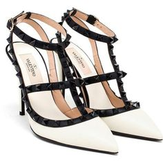b0855a9c201 VALENTINO Leather Rockstud Heels ( 990) ❤ liked on Polyvore featuring shoes