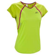 RUNNING_textil - Camiseta de manga corta de running mujer Kalenji Kiprace lima