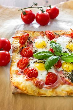 Delicious breakfast pizza recipe, featuring Gruyère cheese and pancetta on a delicious thin crust made from scratch