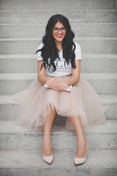 GIRL BOSS tulle skirt. Love how she's wearing this with a T shirt. So adorable