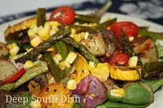 Deep South Dish: Grilled or Roasted Vegetable Spinach Salad with Warm Bacon Dressing