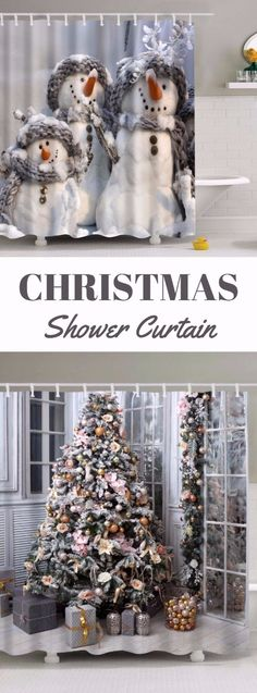 Christmas shower curtains Christmas Stairs, Christmas Signs Wood, Old Christmas, Christmas Scenes, Silver Christmas, Beautiful Christmas, Halloween Wood Crafts, Halloween Crafts For Toddlers, Holiday Crafts