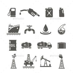 Petroleum Industry Icon Set (Vector EPS, CS, benzene, black, business, can, cargo, drilling, drop, economy, extraction, fuel, gas, gasoline, industrial, industry, oil, oilman, petrochemicals, petroleum, processing, product, pump, refining, ship, tank, technology, terminal, transportation, truck, well, worker)