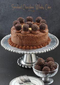 Smoked Chocolate Whisky Cake. Perfectly flavored and balanced. It's a triple chocolate threat.