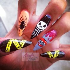 Cool Nightmare Before Christmas Nail Art For Long Nails - Nightmare Before Christmas Nail Art For Halloween