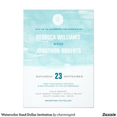Watercolor Sand Dollar Invitation