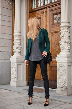 The Lovely Side: 10 Ways to Wear a Teal Blazer or Jacket